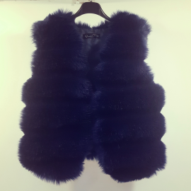 Vesta scurta de blana Snow Bleumarin