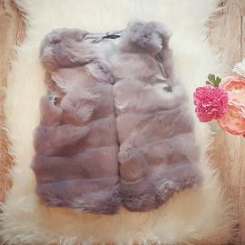 Vesta scurta de blana Snow Gri Inchis