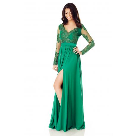 Rochie lunga din dantela si voal verde Darma