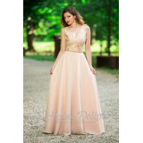Rochie lunga roz pal cu dantela pretioasa Siena