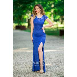 Rochie albastra tip sirena cu spate decupat