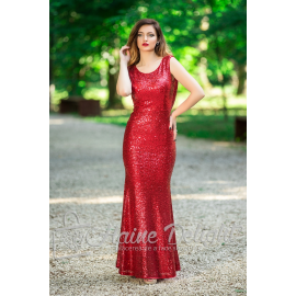Rochie rosie cu paiete si spatele gol