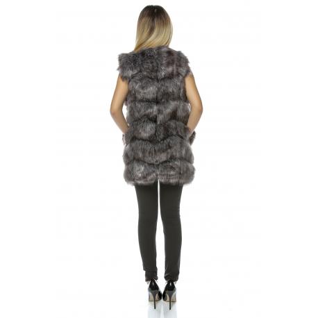 Vesta lunga de blana Frozen gri