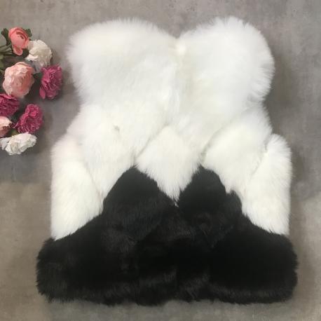 Vesta de blana Alice alb-negru