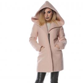 Palton cu gluga roz