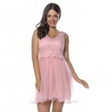 Rochie clos cu tull tip corset roz pal