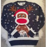 Pulover tricotat pentru Craciun si Sarbatori de iarna cu Ren Vero