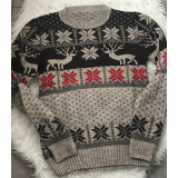 Pulover tricotat motive Craciun si Sarbatori cu Reni
