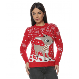 Pulover dama tricotat pentru Craciun si Sarbatorile de iarna cu Ren Vero