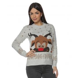 Pulover dama tricotat pentru Craciun si Sarbatorile de iarna cu Ren