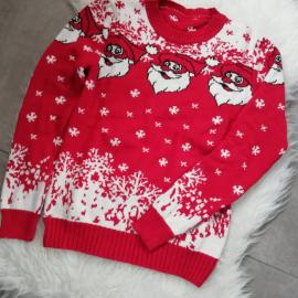 Pulover tricotat cu model Mos Craciun
