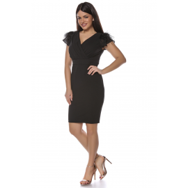 Rochie Plus Size dreapta neagra cu pene Miriam