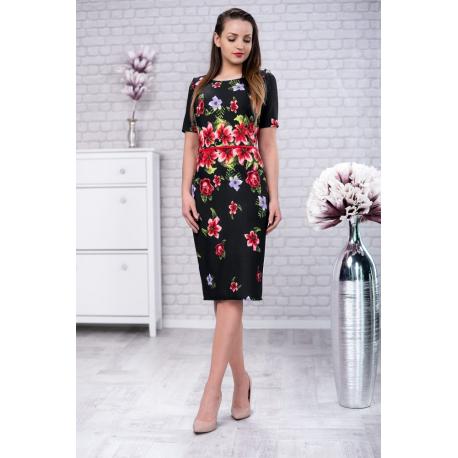Rochie dreapta cu model floral Tania negru