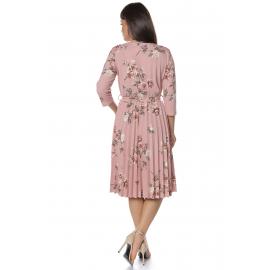 Rochie clos cu pliuri si print floral Evelin