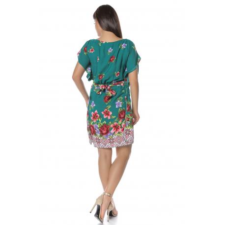 Rochie vaporoasa verde cu imprimeu floral