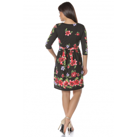 Rochie Corina negru cu imprimeu floral colorat