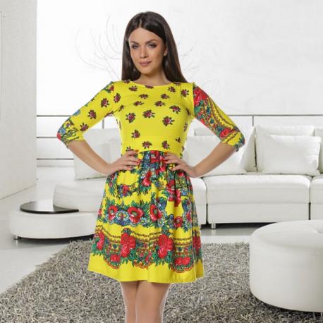 Rochie clos Gypsy galbena cu imprimeu floral