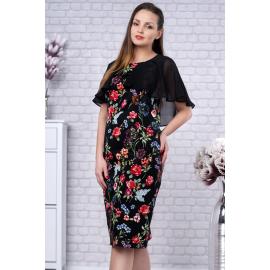 Rochie Plus Size Linda cu voal pe umeri si model floral negru