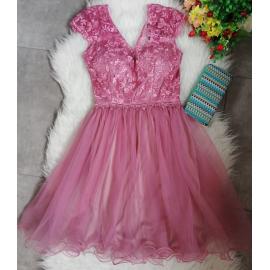 Rochie clos cu tull tip corset roz