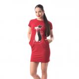 Rochie dreapta cu buzunare si imprimeu cu pisicute