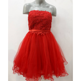 Rochie clos tip corset cu tull si aplicatii Lady rosu