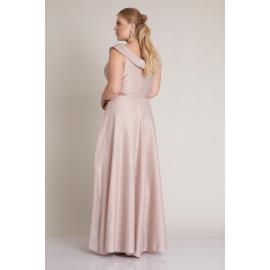 Rochie lunga clos pe umeri roz Kamelia