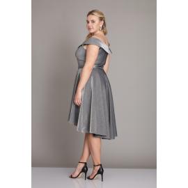 Rochie Plus Size stil randunica pe umeri argintiu Natassa
