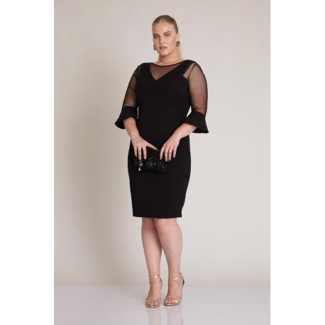Rochie Plus Size cu maneci clopot negru Elena