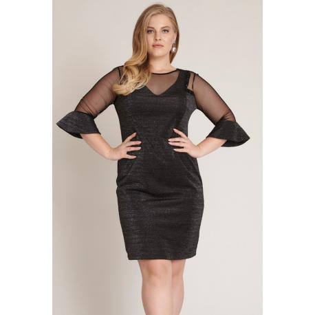 Rochie Plus Size cu maneci clopot negru argintiu Elena