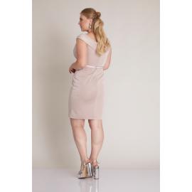 Rochie midi Plus Size Alexia roz pudra