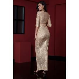 Rochie lunga cu paiete Selena gold