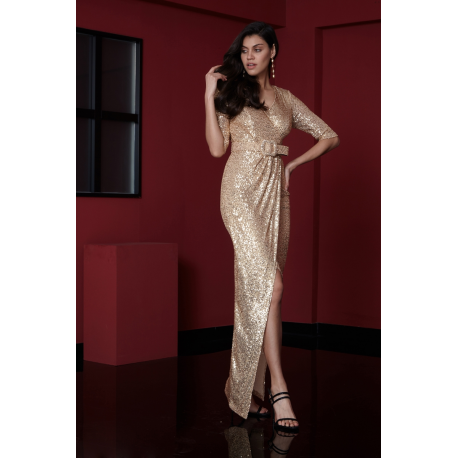Rochie lunga cu paiete Serene gold