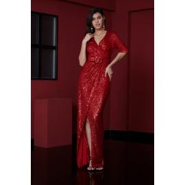 Rochie lunga cu paiete Selena rosu