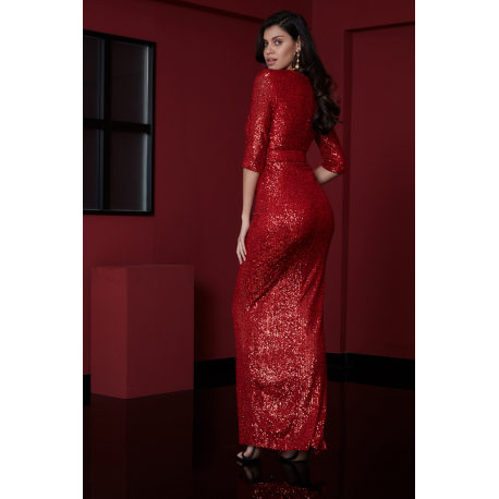 Rochie lunga cu paiete Serene rosu