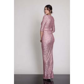 Rochie lunga cu paiete Selena roz