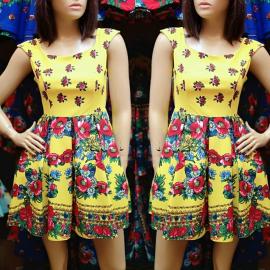 Rochie clos cu imprimeu Gypsy galben