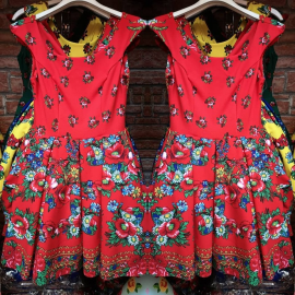 Rochie clos cu imprimeu Gypsy rosu