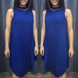 Rochie midi plisata cu perle