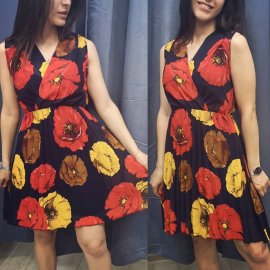 Rochie plisata din voal cu flori de Maci
