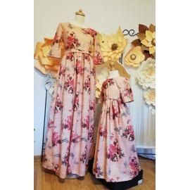 Set Rochii Mama-Fiica cu model floral Crina roz
