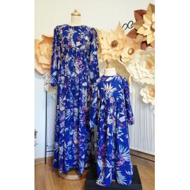 Set Rochii Mama-Fiica cu model floral Crina albastru
