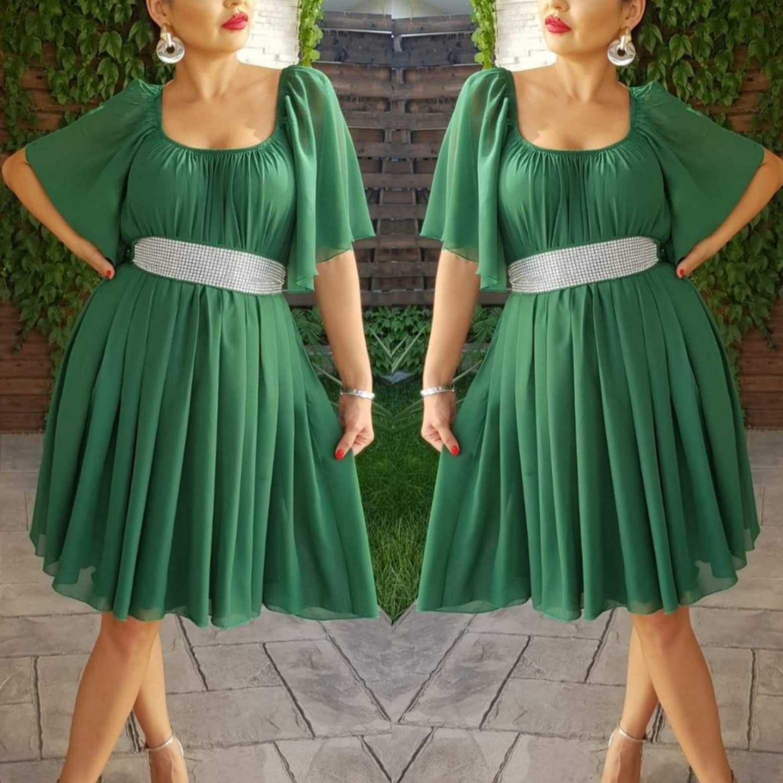 Rochie din voal Serena verde hainedelight.ro