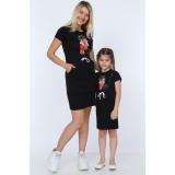 Set Rochii Mama-Fiica midi cu buzunare Mickey Mouse
