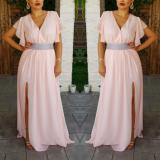 Rochie lunga din voal cu decolteu in V Marisa roz pal