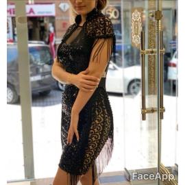 Rochie de seara cu paiete si franjuri pe umeri Ginette