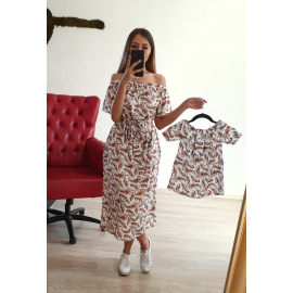 Set Rochii Mama-Fiica Tribal cream MIDI