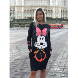Rochie midi cu desene si buzunare Minnie Mouse