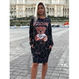 Rochie midi Moschino cu imprimeu ursulet