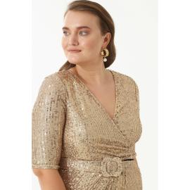 Rochie Plus-Size cu paite Betty auriu