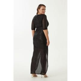 Rochie Plus-Size cu paite Betty negru